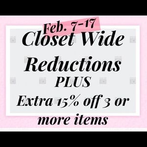 CLOSET WIDE REDUCTIONS MADE